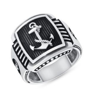 New Sterling Silver Men's Anchor Ring 9 10 11 12